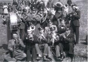Banda alla festa di San Biagio a Grumolo Pedemonte anni 1946-50