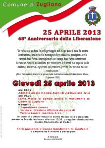Programma 25 aprile 2013 a Zugliano